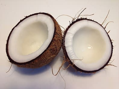 two halves of an open coconut